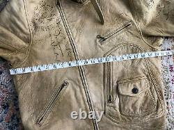 Polo Ralph Lauren NYC Medium Leather Jacket RRL VTG Distressed Motorcycle Biker