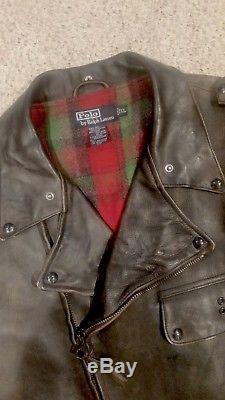 Polo Ralph Lauren RRL Leather Biker Jacket Size XL
