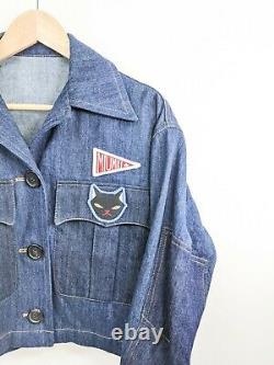 Prada Miu Miu Cat Patch Denim Jacket Indigo Blue Cropped Sz 36 It