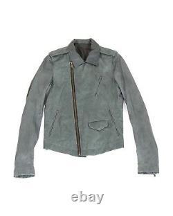 Pre-owned Rick Owens Stooges leather jacket sz 48 / Medium Petrol grey
