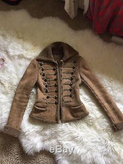 RALPH LAUREN COLLECTION Purple Label Leather Shearling Jacket Sm