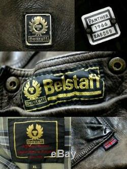 RARE Belstaff Panther 1966 Leather Biker Jacket MADE IN ITALY Size XL Roadmaster