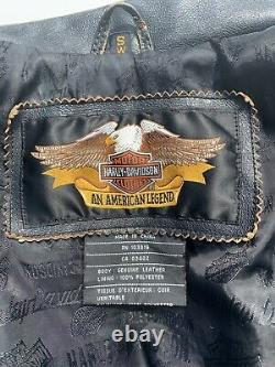 RARE Harley Davidson Womens CYCLE CHAMP Leather Jacket Small Distressed