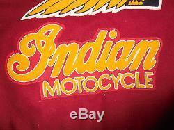 RARE VINTAGE WOOL & LEATHER ORIGINAL INDIAN MOTOCYCLE MOTORCYCLE JACKET LARGE