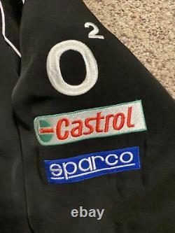 RARE VOLKSWAGEN Motor Sport Patch Embroidery Mens Bomber Black Zip Jacket Large