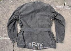 RARE VTG 50s BELSTAFF TRIALMASTER CHEQUERED FLAG LABEL WAXED MOTORCYCLE JACKET M