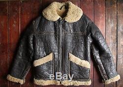 RARE VTG 70s LEWIS LEATHERS SHEEPSKIN AVIATOR BOMBER JACKET MOTORCYCLE CLIX 36