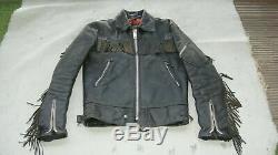 RARE Vintage Belstaff Leather Jacket 36 S Biker Motorcycle Fringe Center Zipper