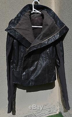 RICK OWENS Brown Lamb Leather Draped Asymmetric Biker Jacket ITA 40/ USA 6