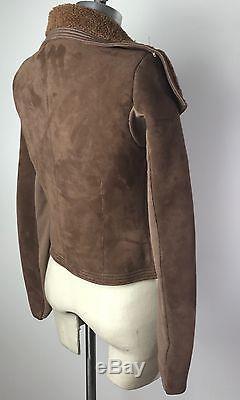 RICK OWENS Brown Leather Shearling Moto Classic Biker Jacket 6 Medium $3k