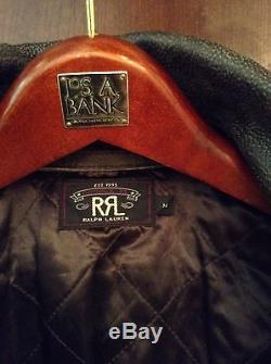 RRL Leather Motorcycle Jacket Wilkins Sz Medium M LVC Ralph Lauren Biker