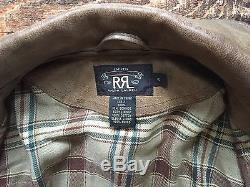 RRL Ralph Lauren Brown Leather Motorcycle Jacket Small, Cotton Plaid Lining