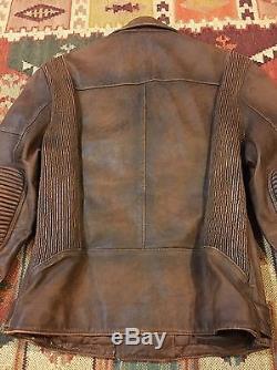 Ralph Lauren Black Label Motorcycle Cafe Racer Moto Leather Jacket M $2695 RRL