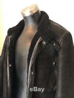 Ralph Lauren Black Shearling Moto Jacket Size Medium Made in Italy