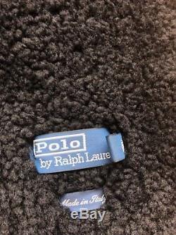 Ralph Lauren Black Shearling Moto Jacket Size Medium Made in Italy
