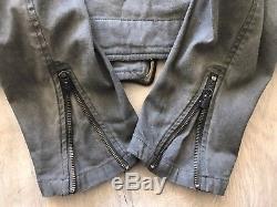 Ralph Lauren Denim Supply Grey Denim Motorcycle Jacket Size Medium