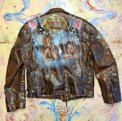 Ralph Lauren Leather Motorcycle Jacket Men's size XL Custom Hand Painted