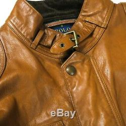 Ralph Lauren Polo Mens Tan Leather Jacket Front Pockets XXL XL
