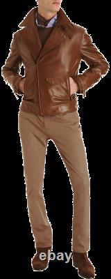 Ralph Lauren Purple Label Brown Leather Motorcycle Jacket, Size L, Lambskin