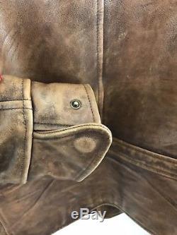 Ralph Lauren Purple Label Mens L Leather Slim Locklear Moto Jacket Brown $3,450