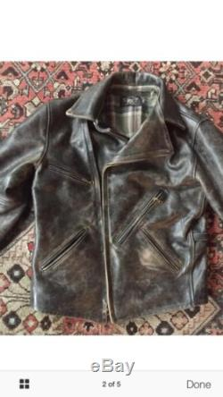 Ralph Lauren Rrl Leather Motorcycle Jacket Size Small