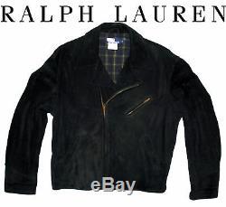 Ralph Lauren Western Moto Cowboy Biker Suede Roughout Leather Jacket Mens L