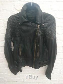 Rare All Saints Walker Black Leather Biker Jacket Size UK 10