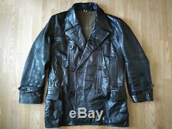 Rare Authentic WW2 German U-BOAT KRIEGSMARINE Black Leather Jacket Coat WW 2 WK2
