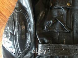 Rare Belstaff Centaur Panther Size 46 Leather Darkbrown Jacket Gold