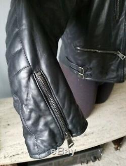 Rare Black White Polo Ralph Lauren Motorcycle Lamb Skin Soft Leather Jacket XL