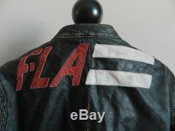 Rare Diesel Mens Leather Daytona Motorcycle Distressed Jacket Size XL Black Red