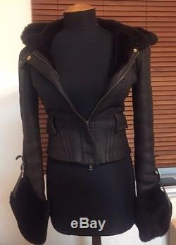 Rare Gucci Runway Leather Shearling Hooded Lambswool Jacket Xs S It38