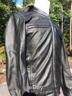 Rare Harley Davidson EXCURSION Black Leather Jacket Men's Medium Bar Shield