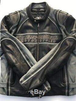Rare Harley Davidson Gray Stripe Leather Jacket Men 2XL Racing Grey