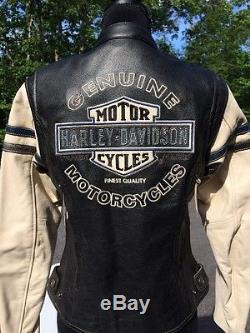 Rare Harley Davidson Miss Enthusiast Distressed Leather Jacket Small Women White