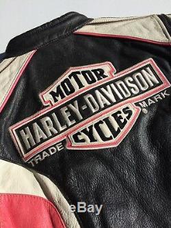 Rare Harley Davidson RIDGEWAY Pink Leather Jacket Women's Medium Bar Shield
