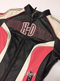 Rare Harley Davidson Ridgeway Leather Jacket Women's Small Pink Bar Shield