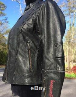 Rare Harley Davidson Road Angel Black Leather Jacket Women's Small Studded Wings
