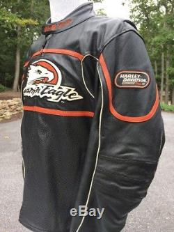 Rare Harley Davidson Screamin Eagle Raceway Leather Jacket Men's XL Armored