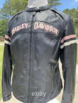 Rare Harley Davidson Womens MISS ENTHUSIAST PINK FALL Leather Jacket XL