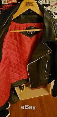 Rare Straight To Hell Defector Leather Motorcycle Jacket Size 44 Tall