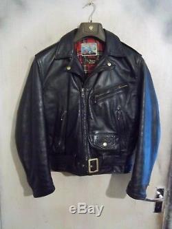 Rare Vintage 1980's Aero Steerhide Biker Leather Motorcycle Jacket Size 42