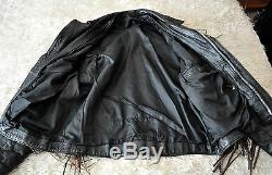 Rare Vintage 2-Tone Fringed Leather Motorcycle/Biker Jacket Men's Sz S Unisex