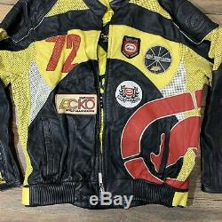 Rare Vintage MARC ECKO Racing Team Issued Racing Leather Jacket Motorcycle Sz XL