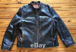 Rare Vintage Mens Levi Strauss & Co. Leather Cafe Racer Moto Jacket Sz. Lg