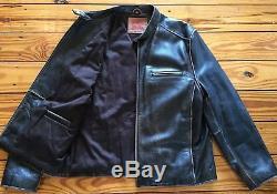 Rare Vintage Mens Levi Strauss & Co. Leather Cafe Racer Moto Jacket Sz. Lg