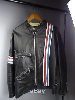 Rare Vintage TT UK 1960's Cafe Racer Easy Rider Leather Motorcycle Jacket 42 R