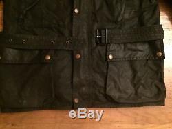 Rare Vtg Belstaff Trialmaster 100% Waxed Cotton Slant Pocket Belted Jacket 42