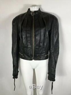 Rare Vtg Jean Paul Gaultier Black Leather Jacket L
