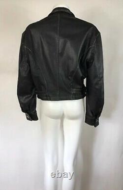 Rare Vtg Jean Paul Gaultier Junior Black Leather Jacket 48 M